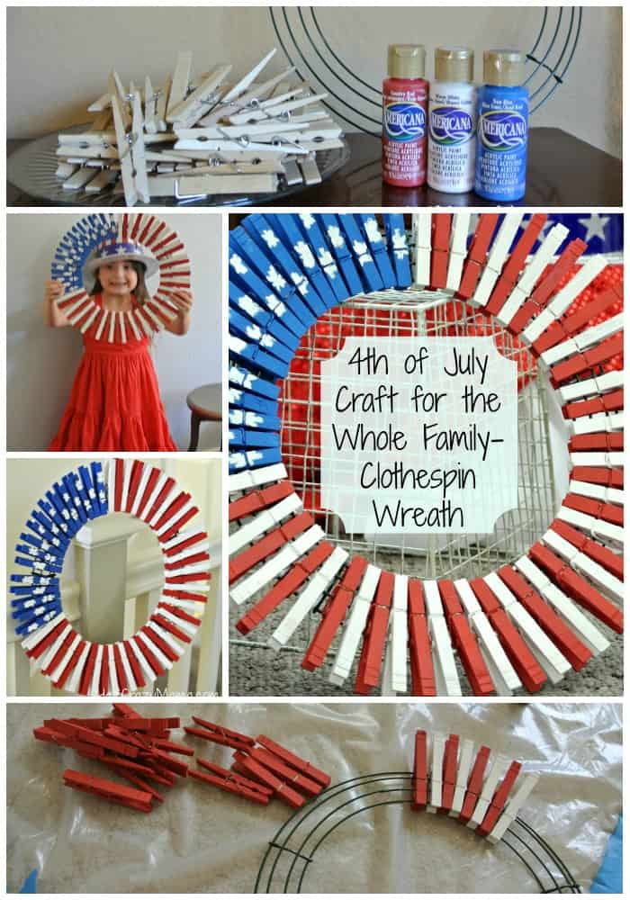 4th go July Clothespin wreath Collage