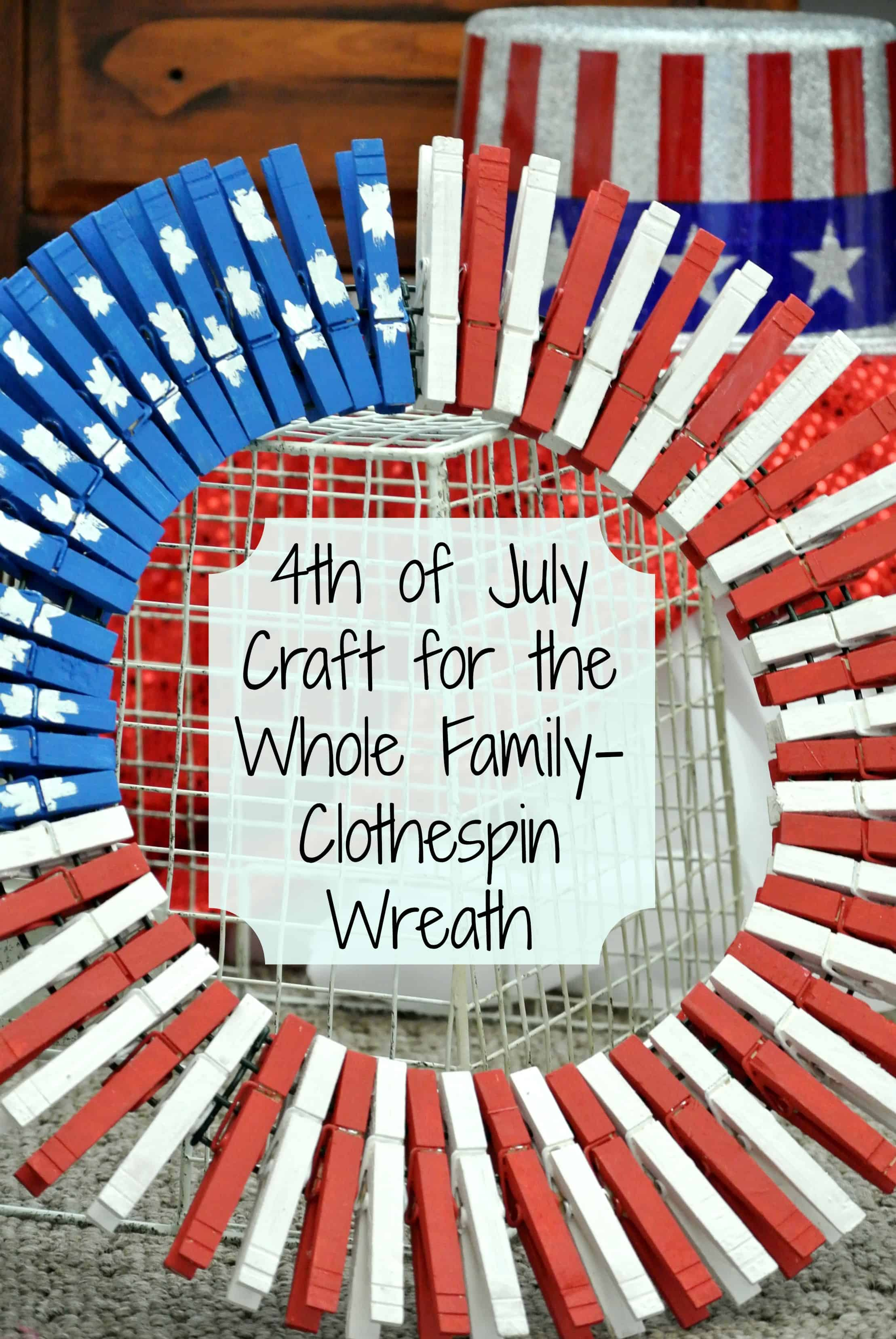 4th of July clothespin wreath title