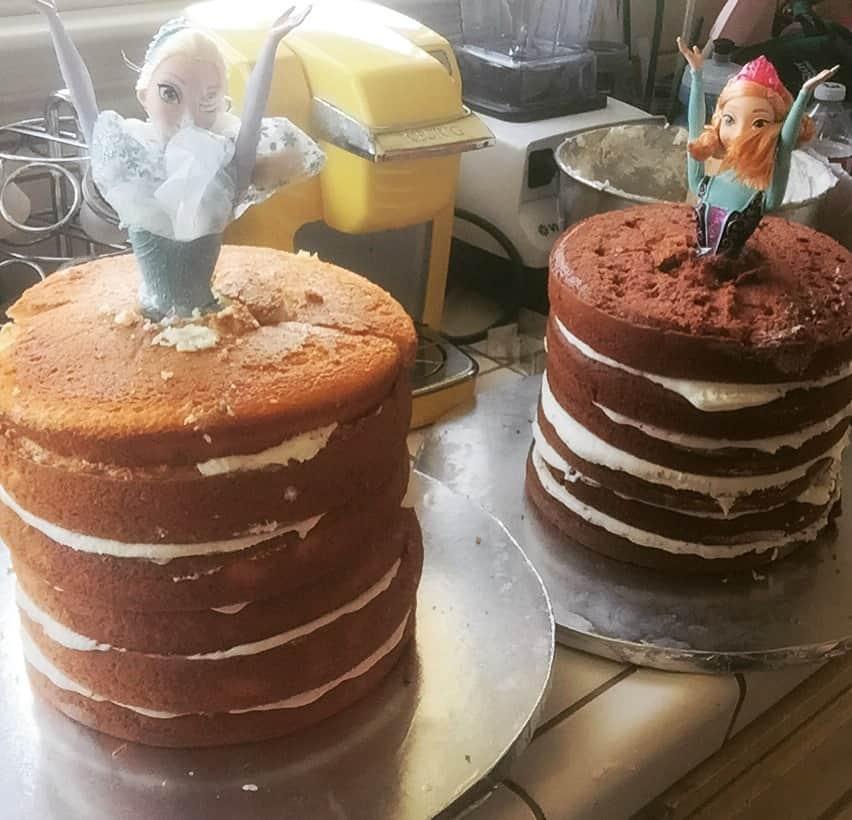 Elsa and Anna Doll Cakes DIY Half Crazy Mama