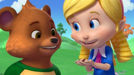 "GOLDIE & BEAR - ""Big Bear"" - ""Goldie & Bear,"" a fairy tale-inspired adventure series for preschoolers premiering in Fall 2015, follows the fairytale adventures of newfound friends Goldie and Bear, following the renowned porridge incident of ""Goldilocks and The Three Bears."" (Disney Junior) BEAR, GOLDIE"