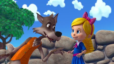 """GOLDIE & BEAR - """"Big Bear"""" - When Bear eats one of Jack's magic beans so he can be a bigger bear, he and Goldie must find a way to reverse the magic after he learns being big isn't as fun as he thought. """"Goldie & Bear"""" premieres on WATCH Disney Junior platforms on Saturday September 12. (Disney Junior) BIG BAD WOLF, GOLDIE"""