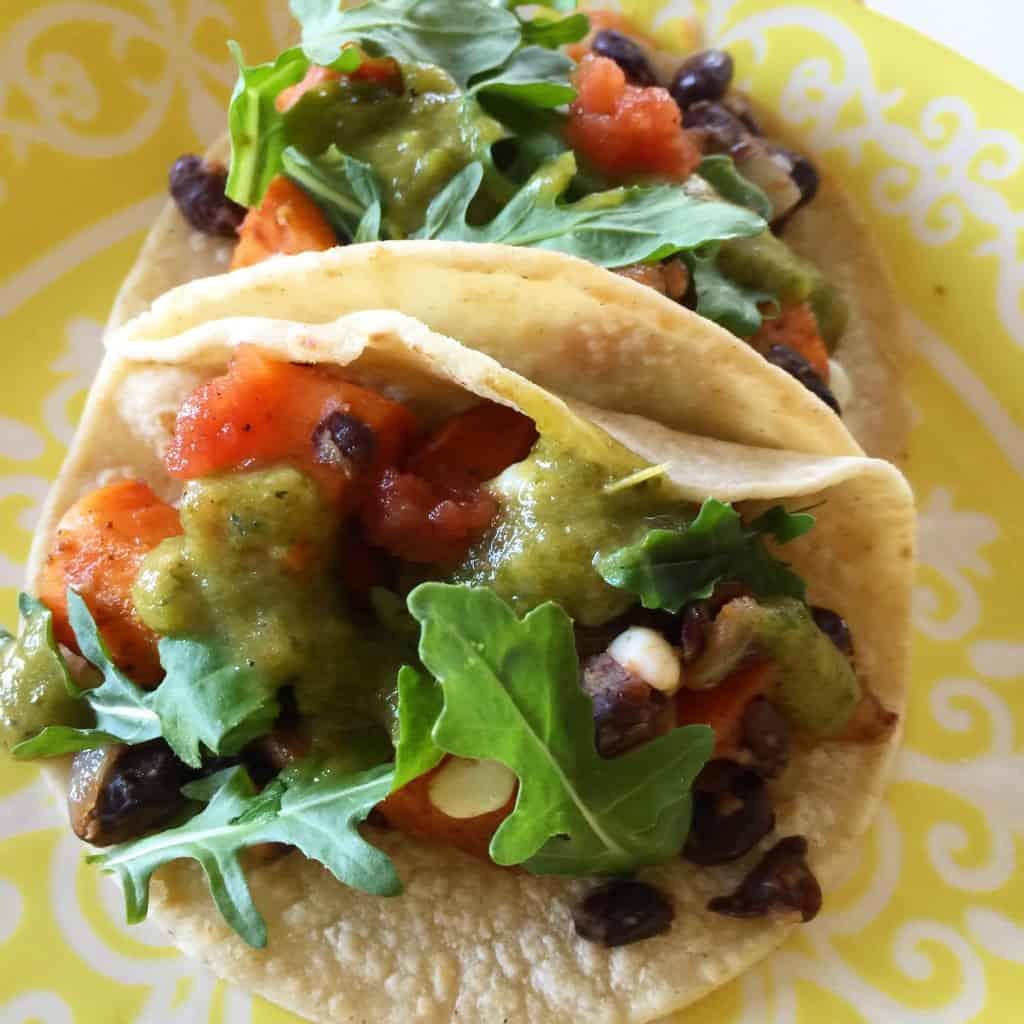 "Black Bean, Corn and Sweet Potato Tacos With Roasted Poblano ""Crema ..."